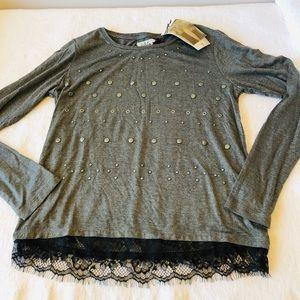 IKKS**Gorgeous Gray Embellished Girls top***$65